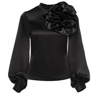 Tops - Black Silky Large Flower Detail Top